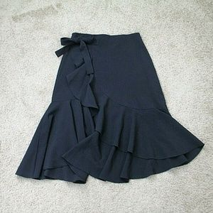 H&M Skirt Black Ruffle Midi A Line Women's 12 New